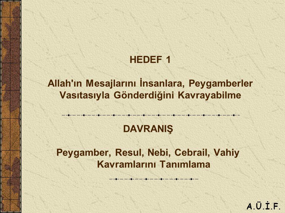 HEDEF 1 Allah ın Mesajlarını İnsanlara, Peygamberler Vasıtasıyla Gönderdiğini Kavrayabilme DAVRANIŞ Peygamber, Resul, Nebi, Cebrail, Vahiy Kavramlarını Tanımlama