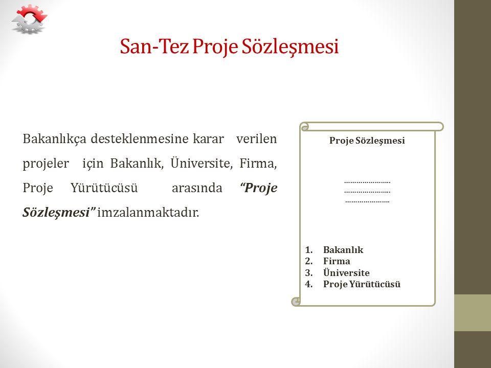 """San-Tez Proje Sözleşmesi Bakanlıkça desteklenmesine karar verilen projeler için Bakanlık, Üniversite, Firma, Proje Yürütücüsü arasında """"Proje Sözleşme"""