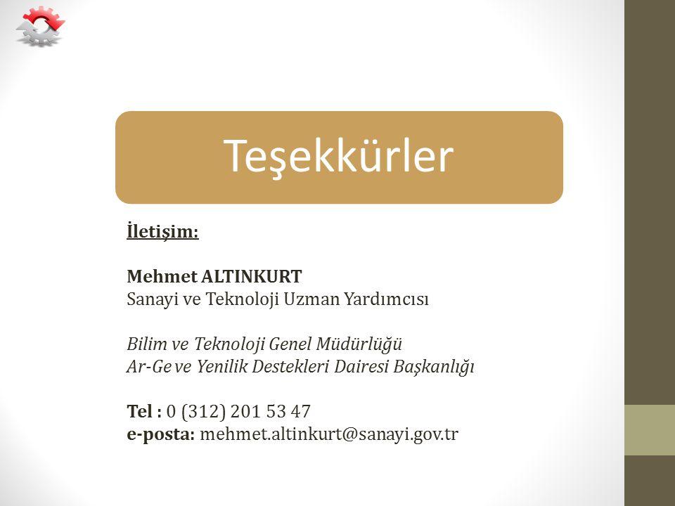 Teşekkürler İletişim: Mehmet ALTINKURT Sanayi ve Teknoloji Uzman Yardımcısı Bilim ve Teknoloji Genel Müdürlüğü Ar-Ge ve Yenilik Destekleri Dairesi Baş