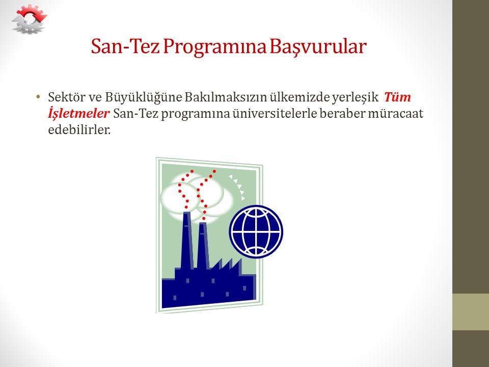 San-Tez Programına Başvurular Sektör ve Büyüklüğüne Bakılmaksızın ülkemizde yerleşik Tüm İşletmeler San-Tez programına üniversitelerle beraber müracaa