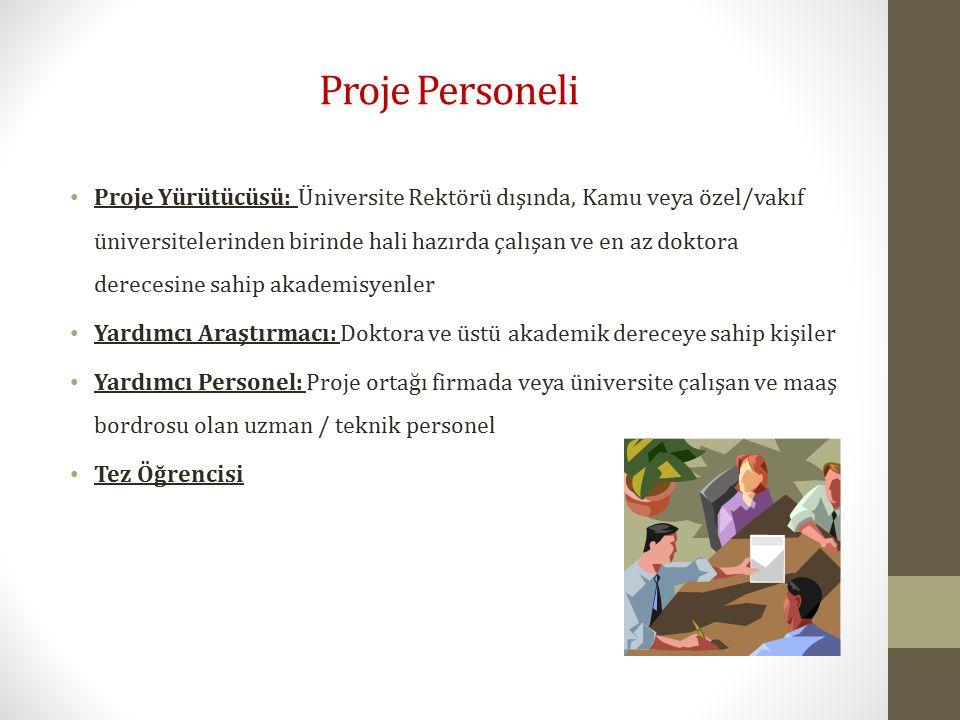 Proje Personeli Proje Yürütücüsü: Üniversite Rektörü dışında, Kamu veya özel/vakıf üniversitelerinden birinde hali hazırda çalışan ve en az doktora de