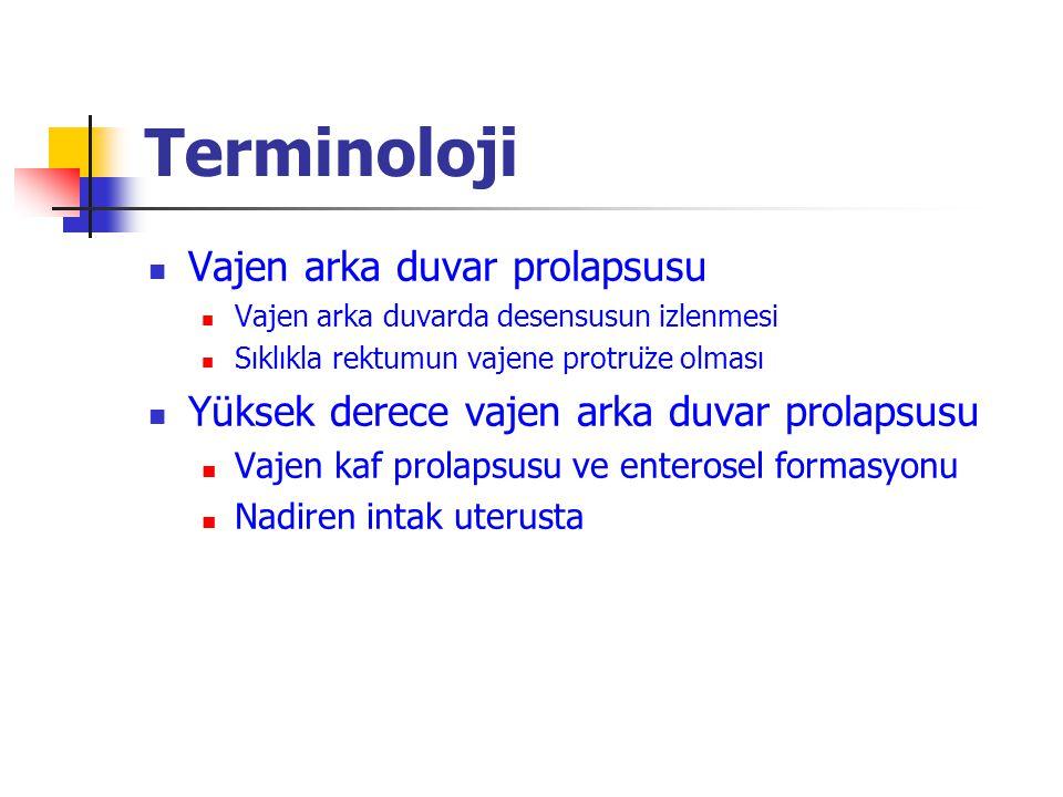 Terminoloji Vajen arka duvar prolapsusu Vajen arka duvarda desensusun izlenmesi Sıklıkla rektumun vajene protrüze olması Yüksek derece vajen arka duvar prolapsusu Vajen kaf prolapsusu ve enterosel formasyonu Nadiren intak uterusta