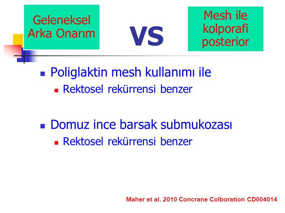 VS Poliglaktin mesh kullanımı ile Rektosel rekürrensi benzer Domuz ince barsak submukozası Rektosel rekürrensi benzer Geleneksel Arka Onarım Mesh ile kolporafi posterior Maher et al.