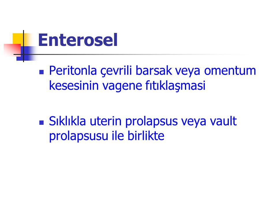 Enterosel Peritonla çevrili barsak veya omentum kesesinin vagene fıtıklaşmasi Sıklıkla uterin prolapsus veya vault prolapsusu ile birlikte