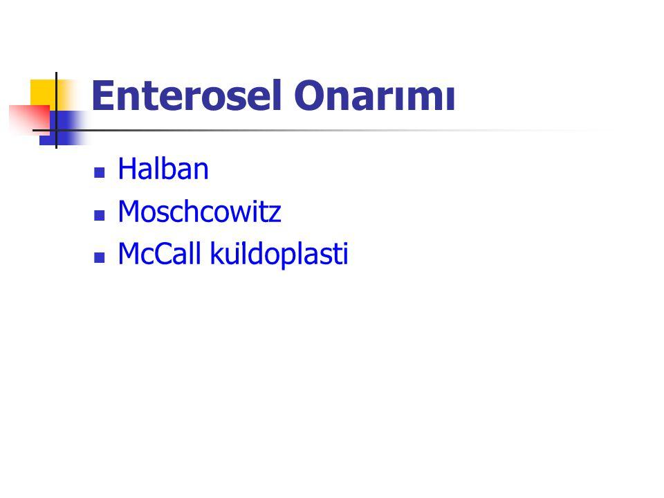 Enterosel Onarımı Halban Moschcowitz McCall küldoplasti