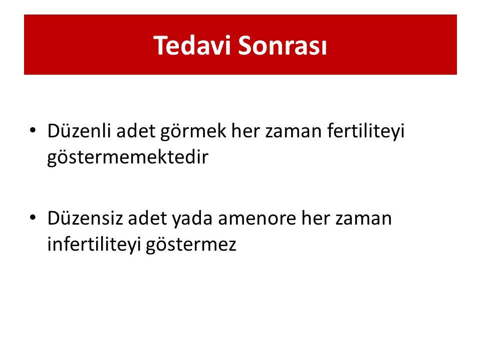 Tedavi Sonrası Düzenli adet görmek her zaman fertiliteyi göstermemektedir Düzensiz adet yada amenore her zaman infertiliteyi göstermez