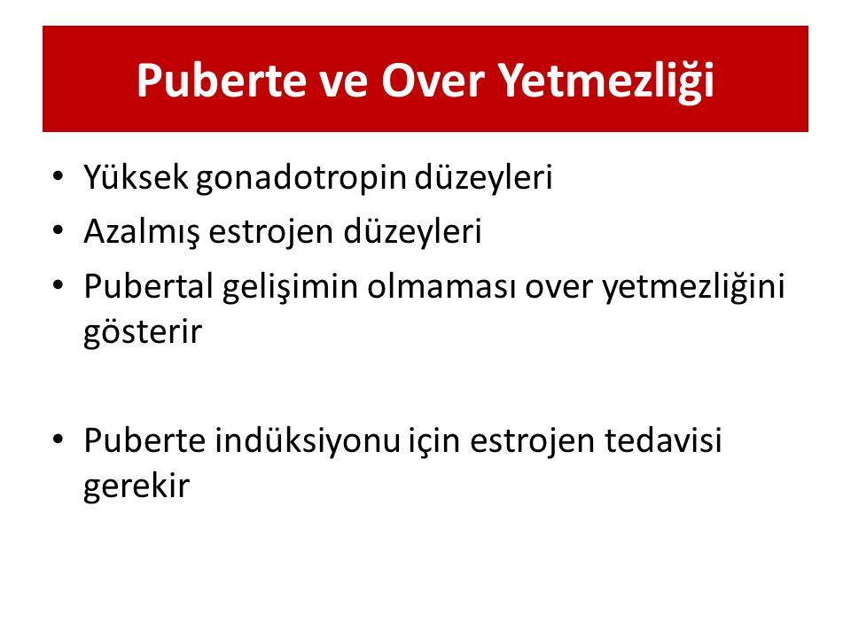 Puberte ve Over Yetmezliği Yüksek gonadotropin düzeyleri Azalmış estrojen düzeyleri Pubertal gelişimin olmaması over yetmezliğini gösterir Puberte ind