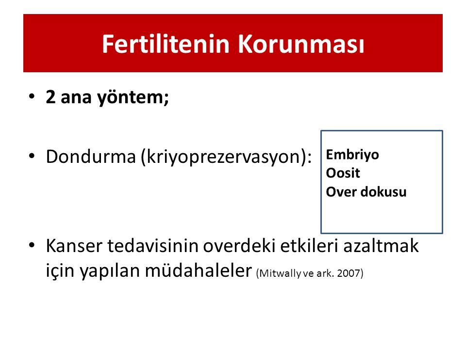 Fertilitenin Korunması 2 ana yöntem; Dondurma (kriyoprezervasyon): Kanser tedavisinin overdeki etkileri azaltmak için yapılan müdahaleler (Mitwally ve