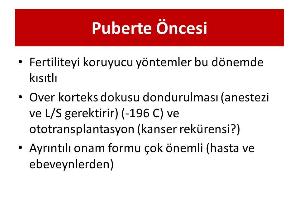 Puberte Öncesi Fertiliteyi koruyucu yöntemler bu dönemde kısıtlı Over korteks dokusu dondurulması (anestezi ve L/S gerektirir) (-196 C) ve ototranspla