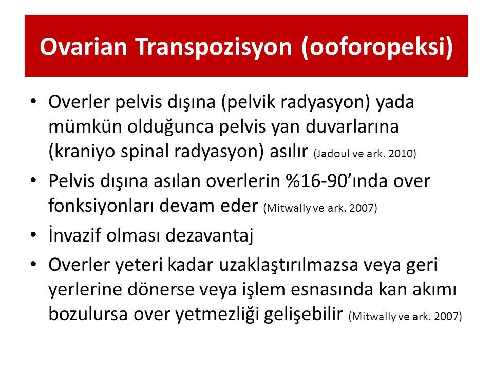 Ovarian Transpozisyon (ooforopeksi) Overler pelvis dışına (pelvik radyasyon) yada mümkün olduğunca pelvis yan duvarlarına (kraniyo spinal radyasyon) a