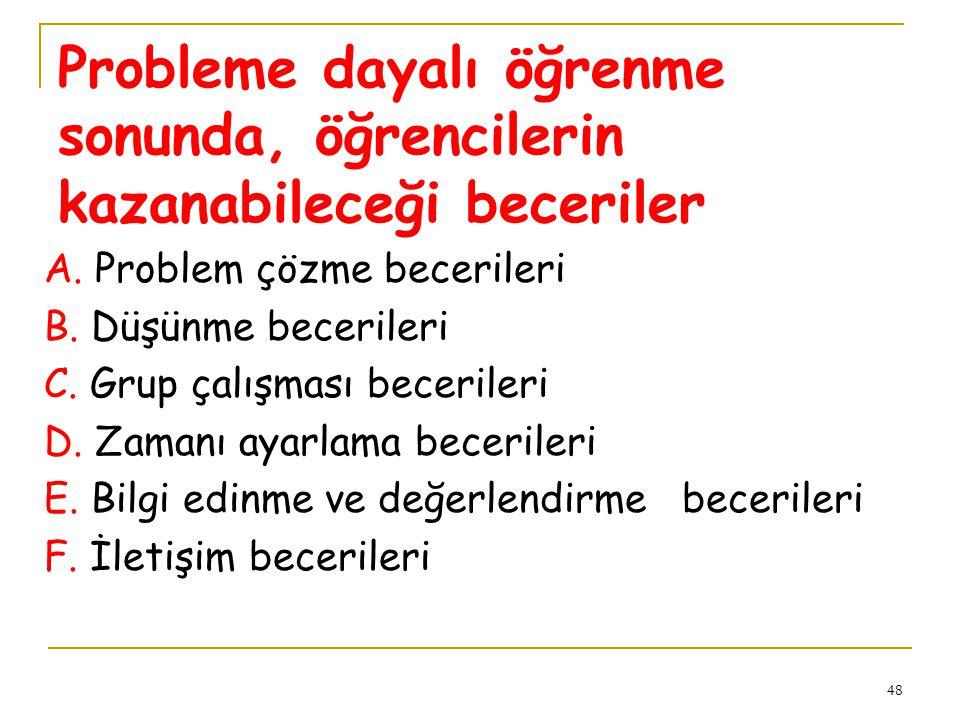 48 Probleme dayalı öğrenme sonunda, öğrencilerin kazanabileceği beceriler A. Problem çözme becerileri B. Düşünme becerileri C. Grup çalışması becerile
