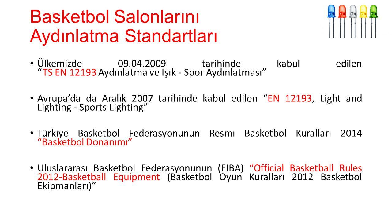 Basketbol Salonlarını Aydınlatma Standartları Ülkemizde 09.04.2009 tarihinde kabul edilen TS EN 12193 Aydınlatma ve Işık - Spor Aydınlatması Avrupa'da da Aralık 2007 tarihinde kabul edilen EN 12193, Light and Lighting - Sports Lighting Türkiye Basketbol Federasyonunun Resmi Basketbol Kuralları 2014 Basketbol Donanımı Uluslararası Basketbol Federasyonunun (FIBA) Official Basketball Rules 2012-Basketball Equipment (Basketbol Oyun Kuralları 2012 Basketbol Ekipmanları)