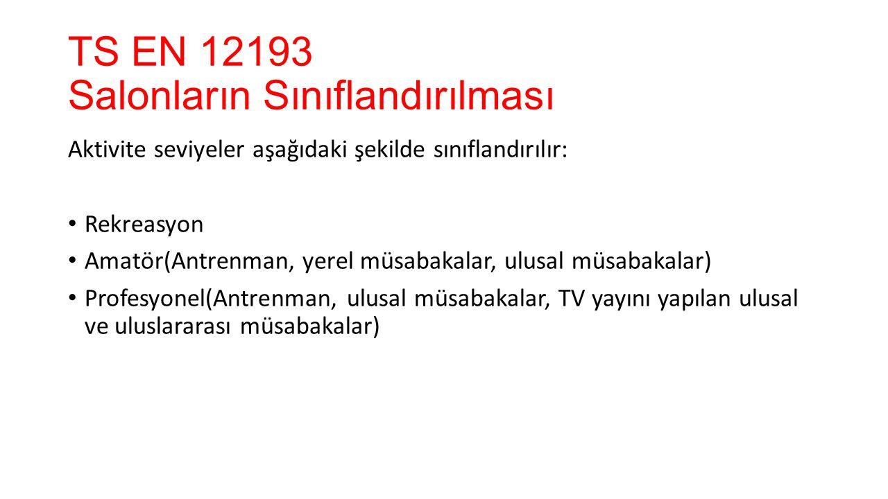 TS EN 12193 Aydınlatma ve Işık - Spor Aydınlatması Müsabaka Seviyesi Yatay Aydınlık Düzeyi E (lüx) E min /E ort Renksel Geriverim Endeksi Rekreasyon 2000.520 Amatör (yerel müsabakalar, ulusal müsabakalar) 5000.760 Profesyonel (ulusal müsabakalar, TV yayını yapılan ulusal ve uluslararası müsabakalar) 7500.760
