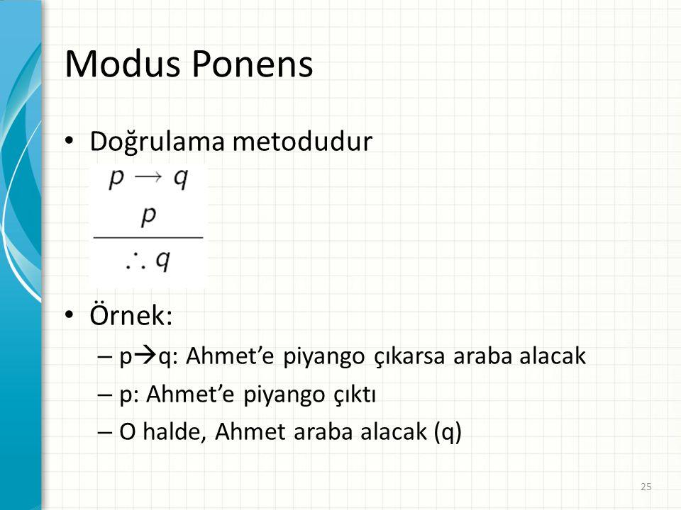 Modus Ponens Doğrulama metodudur Örnek: – p  q: Ahmet'e piyango çıkarsa araba alacak – p: Ahmet'e piyango çıktı – O halde, Ahmet araba alacak (q) 25