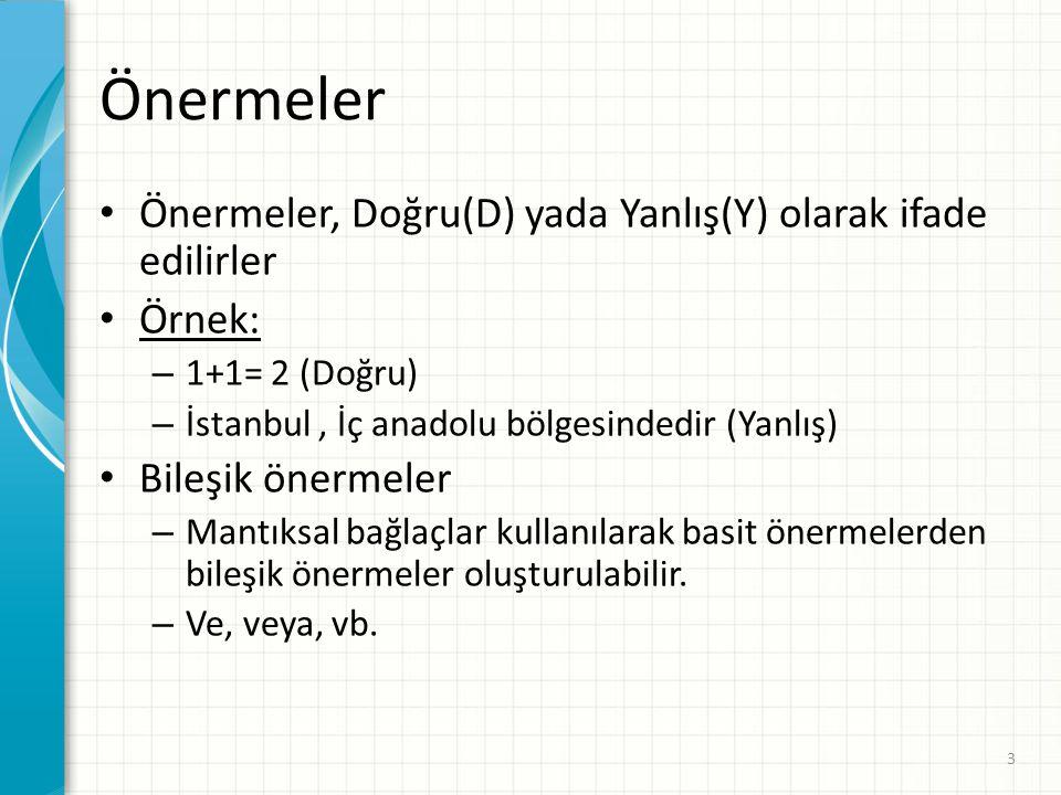 Önermeler Önermeler, Doğru(D) yada Yanlış(Y) olarak ifade edilirler Örnek: – 1+1= 2 (Doğru) – İstanbul, İç anadolu bölgesindedir (Yanlış) Bileşik öner