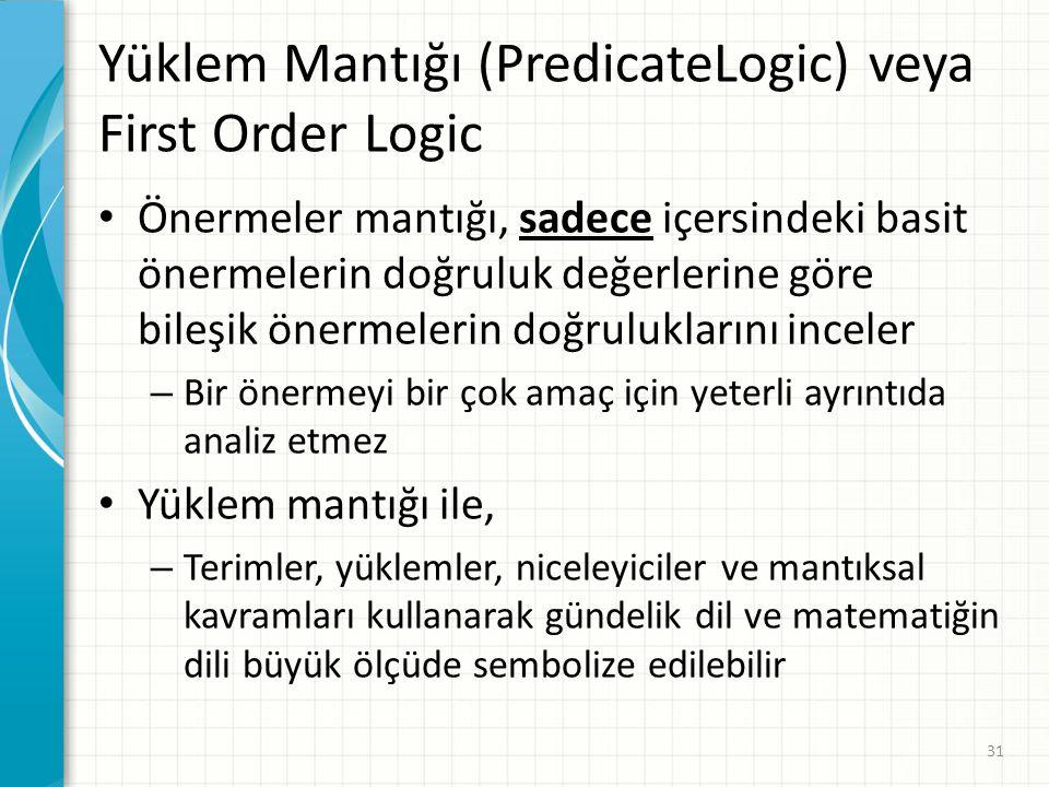Yüklem Mantığı (PredicateLogic) veya First Order Logic Önermeler mantığı, sadece içersindeki basit önermelerin doğruluk değerlerine göre bileşik önerm