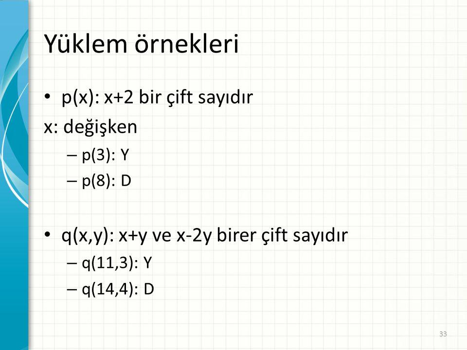 Yüklem örnekleri p(x): x+2 bir çift sayıdır x: değişken – p(3): Y – p(8): D q(x,y): x+y ve x-2y birer çift sayıdır – q(11,3): Y – q(14,4): D 33