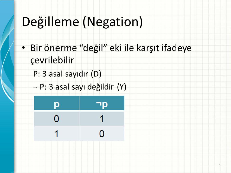 """Değilleme (Negation) Bir önerme """"değil"""" eki ile karşıt ifadeye çevrilebilir P: 3 asal sayıdır (D) ¬ P: 3 asal sayı değildir (Y) 5"""