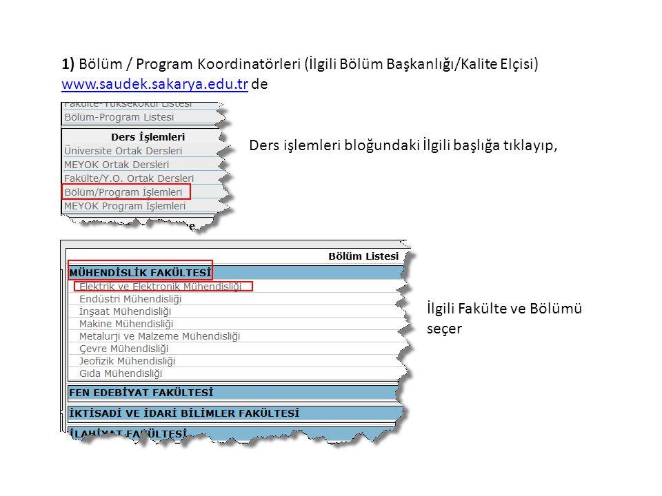 1) Bölüm / Program Koordinatörleri (İlgili Bölüm Başkanlığı/Kalite Elçisi) www.saudek.sakarya.edu.trwww.saudek.sakarya.edu.tr de Ders işlemleri bloğundaki İlgili başlığa tıklayıp, İlgili Fakülte ve Bölümü seçer