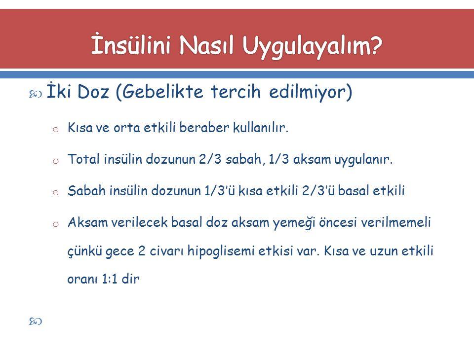  İki Doz (Gebelikte tercih edilmiyor) o Kısa ve orta etkili beraber kullanılır. o Total insülin dozunun 2/3 sabah, 1/3 aksam uygulanır. o Sabah insül