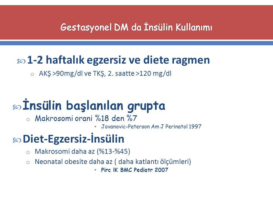  1-2 haftalık egzersiz ve diete ragmen o AKŞ >90mg/dl ve TKŞ, 2. saatte >120 mg/dl  İnsülin başlanılan grupta o Makrosomi orani %18 den %7 Jovanovic