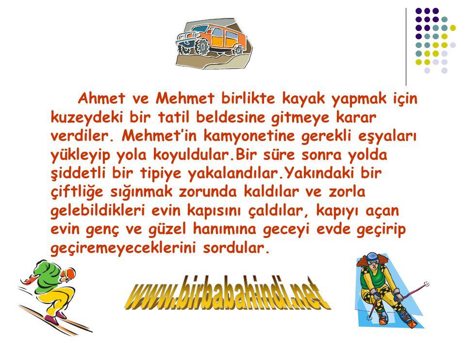 Ahmet ve Mehmet birlikte kayak yapmak için kuzeydeki bir tatil beldesine gitmeye karar verdiler.