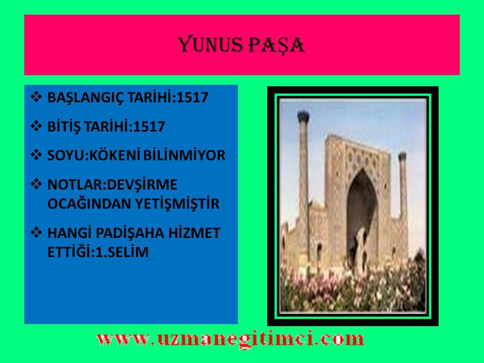 HAD İ M S İ NAN PA Ş A  BAŞLANGIÇ TARİHİ:1516  BİTİŞ TARİHİ:1517  SOYU:TÜRKTÜR  NOTLAR:RİDANİYE SAVAŞINDA ŞEHİT DÜŞMÜŞTÜR  HANGİ PADİŞAH DÖNEMİNDE BULUNDUĞU:1.SELİM