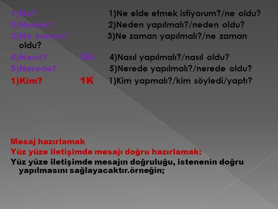 1)Ne? 1)Ne elde etmek istiyorum?/ne oldu? 2)Neden? 2)Neden yapılmalı?/neden oldu? 3)Ne zaman? 3)Ne zaman yapılmalı?/ne zaman oldu? 4)Nasıl? 5N 4)Nasıl