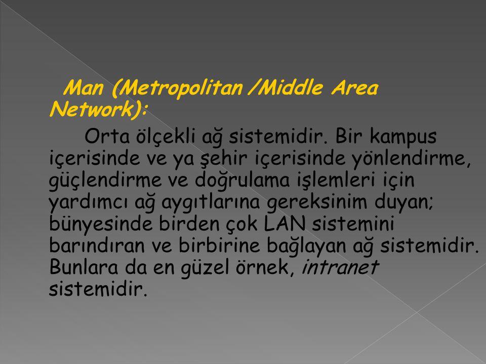 Man (Metropolitan /Middle Area Network): Orta ölçekli ağ sistemidir. Bir kampus içerisinde ve ya şehir içerisinde yönlendirme, güçlendirme ve doğrulam