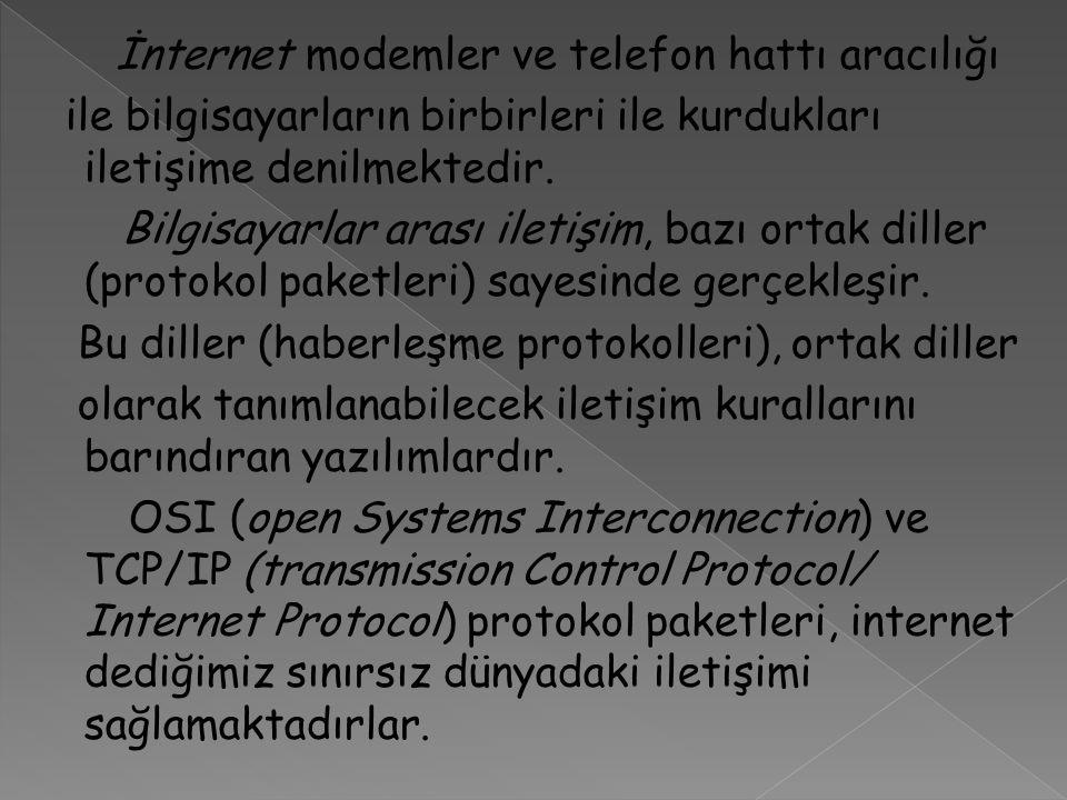 İnternet modemler ve telefon hattı aracılığı ile bilgisayarların birbirleri ile kurdukları iletişime denilmektedir. Bilgisayarlar arası iletişim, bazı