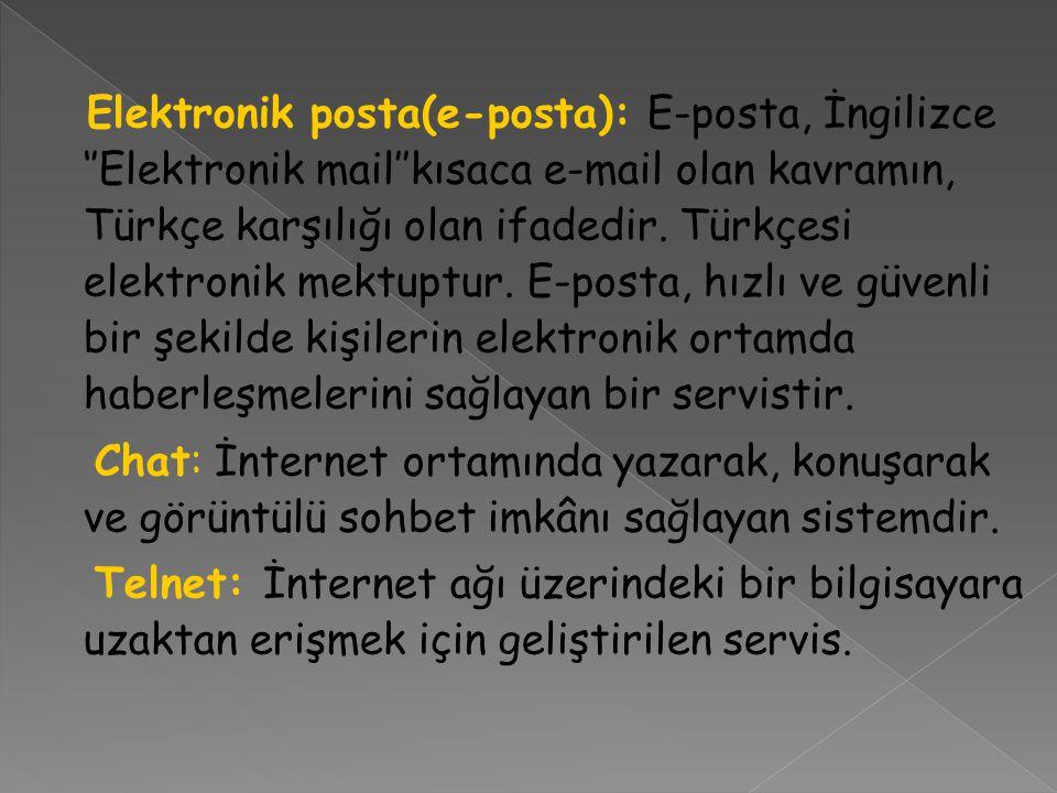Elektronik posta(e-posta): E-posta, İngilizce ''Elektronik mail''kısaca e-mail olan kavramın, Türkçe karşılığı olan ifadedir. Türkçesi elektronik mekt