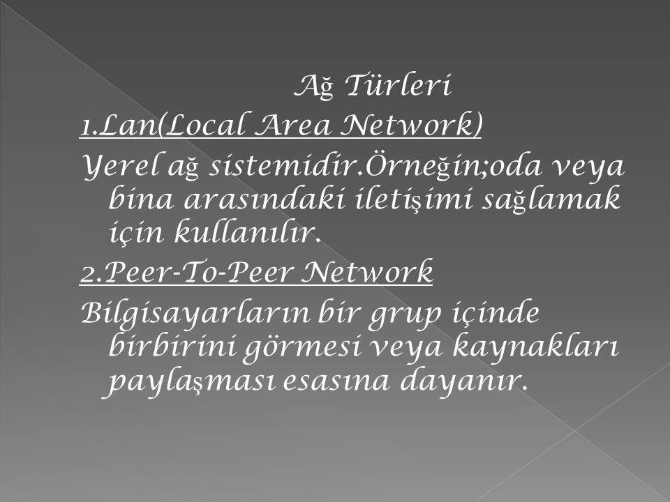 A ğ Türleri 1.Lan(Local Area Network) Yerel a ğ sistemidir.Örne ğ in;oda veya bina arasındaki ileti ş imi sa ğ lamak için kullanılır. 2.Peer-To-Peer N