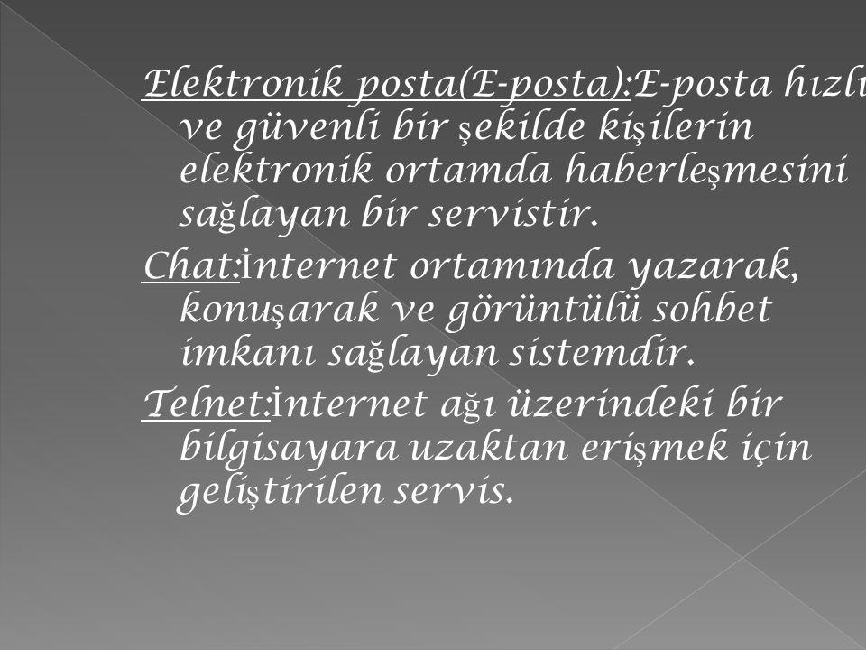 Elektronik posta(E-posta):E-posta hızlı ve güvenli bir ş ekilde ki ş ilerin elektronik ortamda haberle ş mesini sa ğ layan bir servistir. Chat: İ nter
