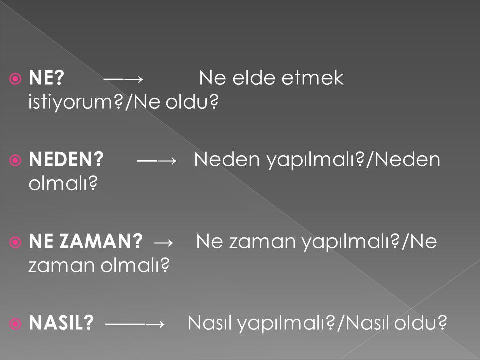  NE? — → Ne elde etmek istiyorum?/Ne oldu?  NEDEN? — → Neden yapılmalı?/Neden olmalı?  NE ZAMAN? → Ne zaman yapılmalı?/Ne zaman olmalı?  NASIL? ——