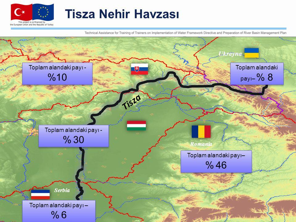 Serbia Ukrayna Romania Toplam alandaki payı - %10 Toplam alandaki payı– % 46 Toplam alandaki payı - % 30 Toplam alandaki payı – % 6 Toplam alandaki payı – % 6 Toplam alandaki payı– % 8 Tisza Tisza Nehir Havzası