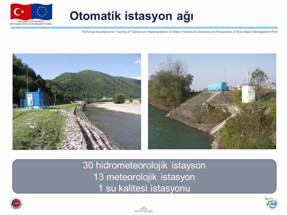 Otomatik istasyon ağı 30 hidrometeorolojik istayson 13 meteorolojik istasyon 1 su kalitesi istasyonu