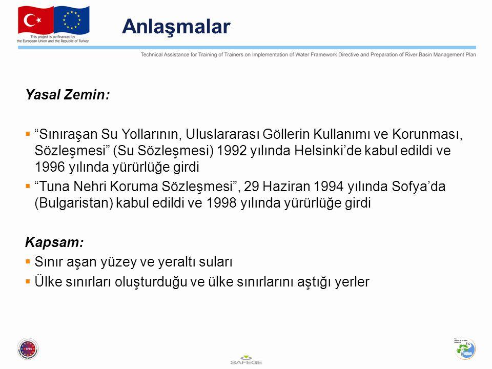 Anlaşmalar Yasal Zemin:  Sınıraşan Su Yollarının, Uluslararası Göllerin Kullanımı ve Korunması, Sözleşmesi (Su Sözleşmesi) 1992 yılında Helsinki'de kabul edildi ve 1996 yılında yürürlüğe girdi  Tuna Nehri Koruma Sözleşmesi , 29 Haziran 1994 yılında Sofya'da (Bulgaristan) kabul edildi ve 1998 yılında yürürlüğe girdi Kapsam:  Sınır aşan yüzey ve yeraltı suları  Ülke sınırları oluşturduğu ve ülke sınırlarını aştığı yerler