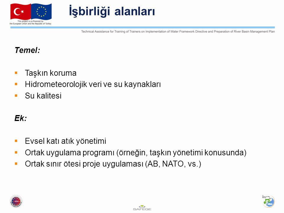İşbirliği alanları Temel:  Taşkın koruma  Hidrometeorolojik veri ve su kaynakları  Su kalitesi Ek:  Evsel katı atık yönetimi  Ortak uygulama programı (örneğin, taşkın yönetimi konusunda)  Ortak sınır ötesi proje uygulaması (AB, NATO, vs.)