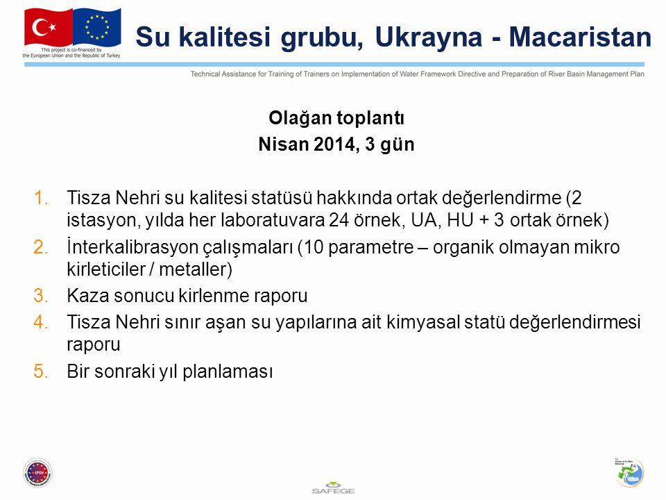 Su kalitesi grubu, Ukrayna - Macaristan Olağan toplantı Nisan 2014, 3 gün 1.Tisza Nehri su kalitesi statüsü hakkında ortak değerlendirme (2 istasyon, yılda her laboratuvara 24 örnek, UA, HU + 3 ortak örnek) 2.İnterkalibrasyon çalışmaları (10 parametre – organik olmayan mikro kirleticiler / metaller) 3.Kaza sonucu kirlenme raporu 4.Tisza Nehri sınır aşan su yapılarına ait kimyasal statü değerlendirmesi raporu 5.Bir sonraki yıl planlaması