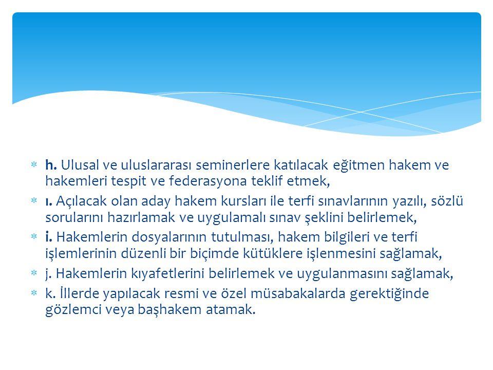  h. Ulusal ve uluslararası seminerlere katılacak eğitmen hakem ve hakemleri tespit ve federasyona teklif etmek,  ı. Açılacak olan aday hakem kurslar