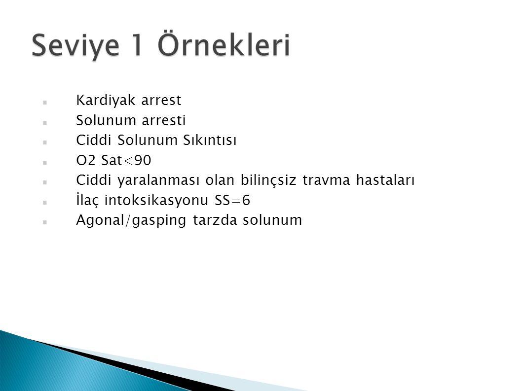 Kardiyak arrest Solunum arresti Ciddi Solunum Sıkıntısı O2 Sat<90 Ciddi yaralanması olan bilinçsiz travma hastaları İlaç intoksikasyonu SS=6 Agonal/gasping tarzda solunum