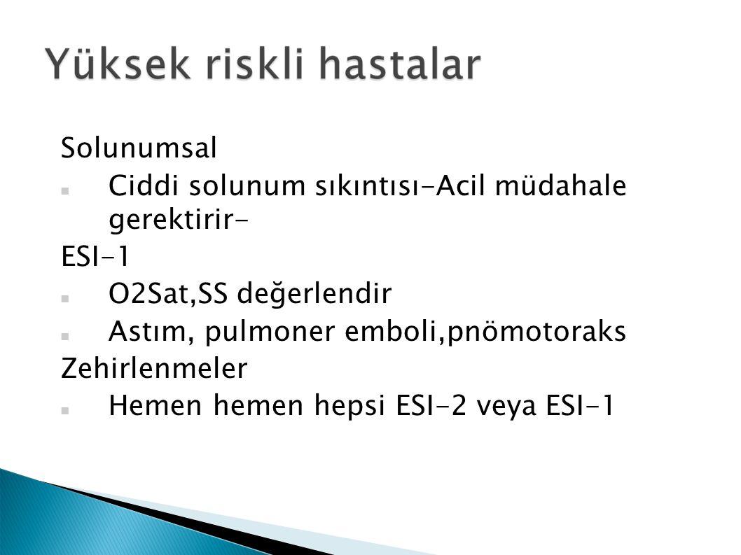 Solunumsal Ciddi solunum sıkıntısı-Acil müdahale gerektirir- ESI-1 O2Sat,SS değerlendir Astım, pulmoner emboli,pnömotoraks Zehirlenmeler Hemen hemen hepsi ESI-2 veya ESI-1