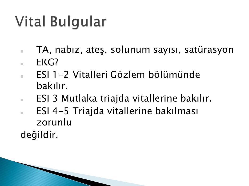 TA, nabız, ateş, solunum sayısı, satürasyon EKG. ESI 1-2 Vitalleri Gözlem bölümünde bakılır.