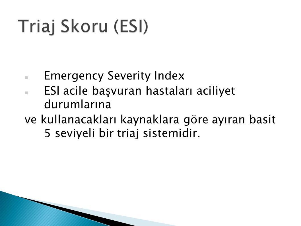 Emergency Severity Index ESI acile başvuran hastaları aciliyet durumlarına ve kullanacakları kaynaklara göre ayıran basit 5 seviyeli bir triaj sistemi