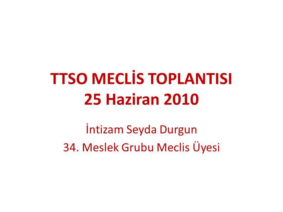 TTSO MECLİS TOPLANTISI 25 Haziran 2010 İntizam Seyda Durgun 34. Meslek Grubu Meclis Üyesi