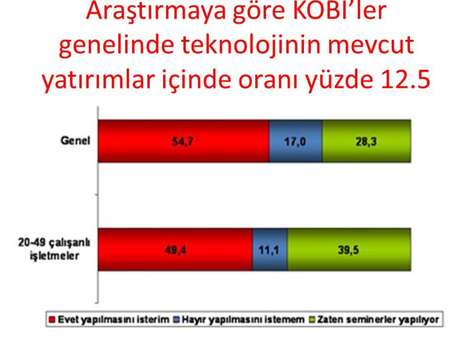 Araştırmaya göre KOBİ'ler genelinde teknolojinin mevcut yatırımlar içinde oranı yüzde 12.5
