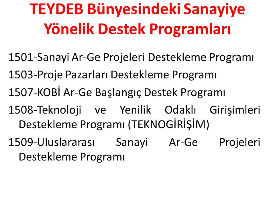 TEYDEB Bünyesindeki Sanayiye Yönelik Destek Programları 1501-Sanayi Ar-Ge Projeleri Destekleme Programı 1503-Proje Pazarları Destekleme Programı 1507-