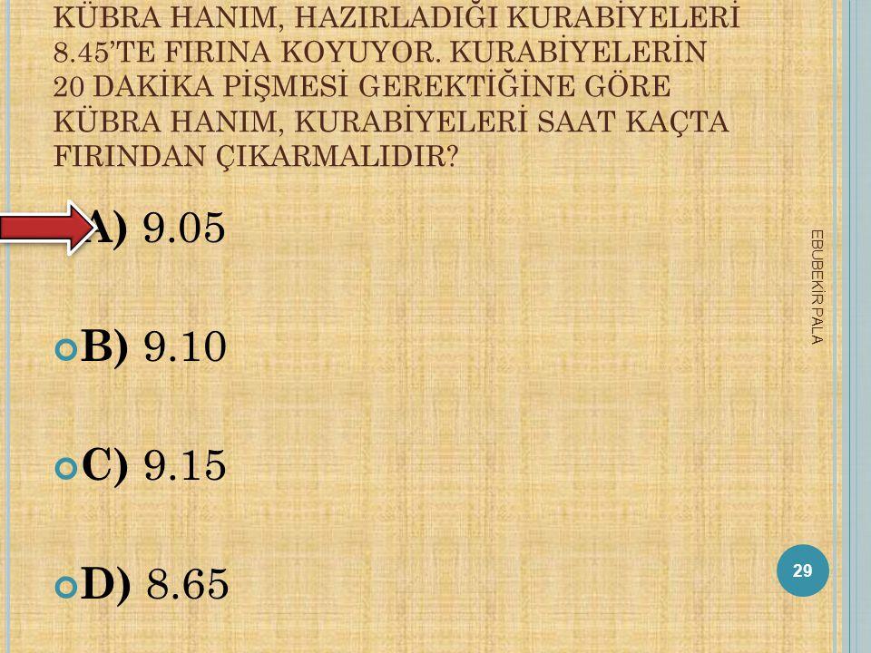 A RDıŞıK DÖRT ÇIFT DOĞAL SAYıNıN TOPLAMı 132 ISE KÜÇÜK SAYı KAÇTıR ? A) 30 B) 32 C) 36 D) 40 28 EBUBEKİR PALA