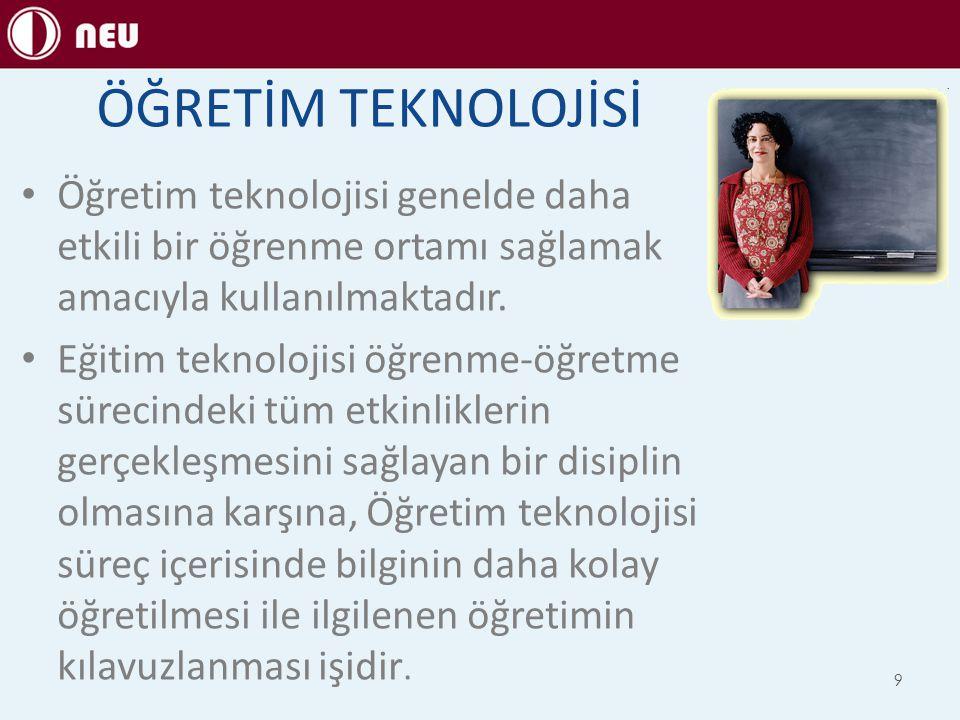 ÖĞRETİM TEKNOLOJİSİ Öğretim teknolojisi genelde daha etkili bir öğrenme ortamı sağlamak amacıyla kullanılmaktadır.