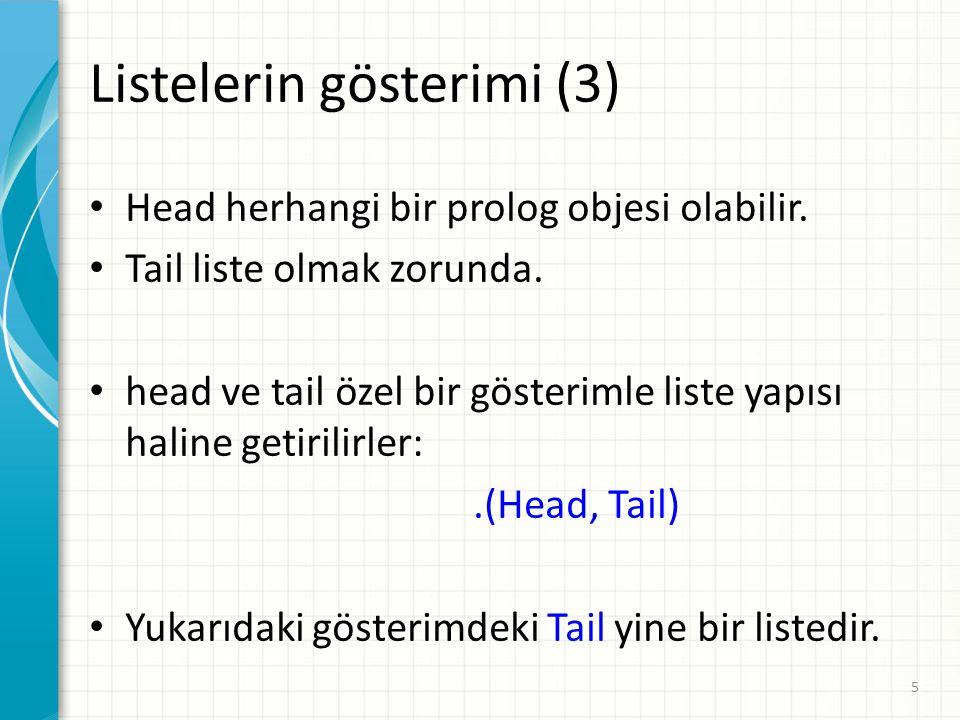 Head herhangi bir prolog objesi olabilir.Tail liste olmak zorunda.